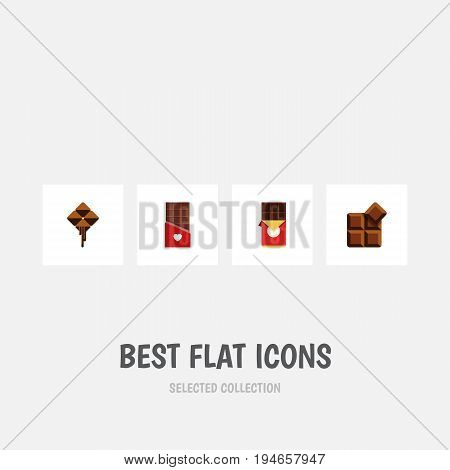 Flat Icon Sweet Set Of Chocolate, Chocolate Bar, Cocoa And Other Vector Objects. Also Includes Chocolate, Cocoa, Delicious Elements.