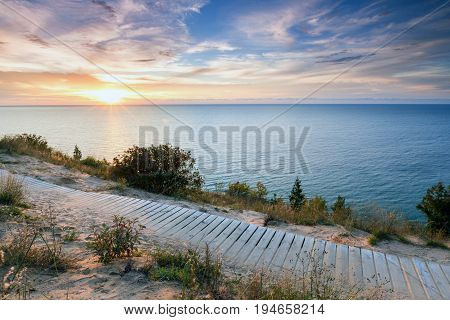 Empire Bluff Trail, sunset, near Empire Michigan. This trail overlooks Sleeping Bear Dunes