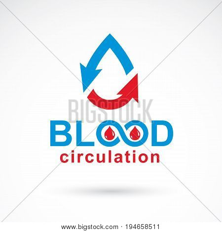 Vector illustration of heart shape with arrows and drops of blood. Blood circulation concept rehabilitation creative symbol isolated on white.