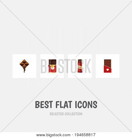 Flat Icon Sweet Set Of Delicious, Sweet, Chocolate Bar And Other Vector Objects. Also Includes Bitter, Delicious, Chocolate Elements.
