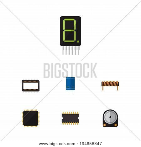 Flat Icon Device Set Of Bobbin, Transistor, Microprocessor And Other Vector Objects. Also Includes Transistor, Unit, Set Elements.