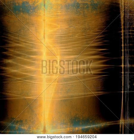 Aged grunge graphic background with shabby texture in vintage style and different color patterns: yellow (beige); brown; blue; cyan; black