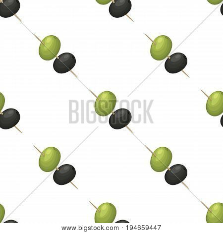 Black and green olives on skewers.Olives single icon in cartoon style vector symbol stock illustration .