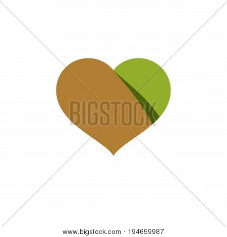 Vector illustration of loving heart decorated with green leaves. Phytotherapy metaphor vector graphic emblem.