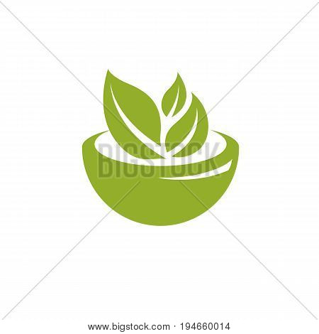 Vector illustration of mortar and pestle isolated on white. Alternative medicine concept phytotherapy symbol.