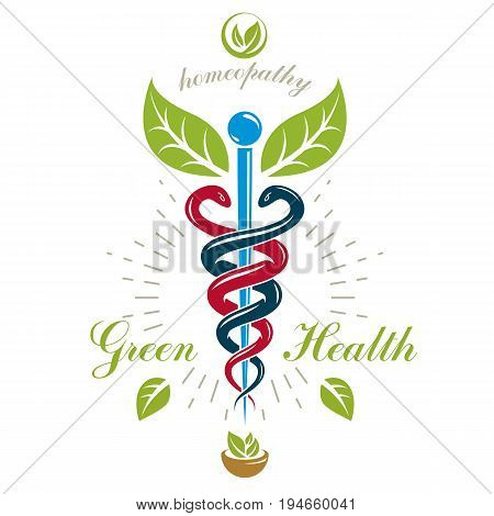 Pharmacy Caduceus icon vector medical logo for use in holistic medicine rehabilitation or pharmacology. Homeopathy creative symbol composed with mortar and pestle.