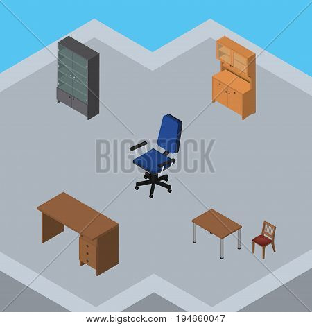 Isometric Furniture Set Of Sideboard, Table, Chair And Other Vector Objects. Also Includes Chair, Table, Office Elements.