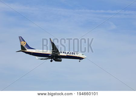 Amsterdam the Netherlands - July 7th 2017: EI-EBY Ryanair Boeing 737 approaching Schiphol Amsterdam Airport Polderbaan runway