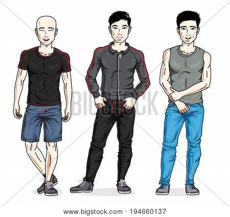 Handsome young men posing in stylish sportswear. Vector people illustrations set.