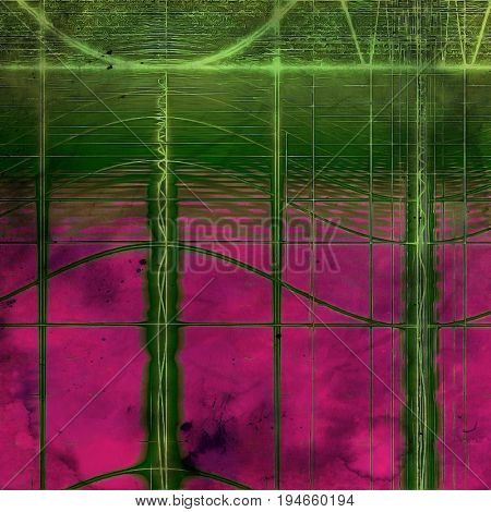 Vintage texture, old style frame decoration with grunge graphic elements and different color patterns: purple (violet); pink; green; brown; gray