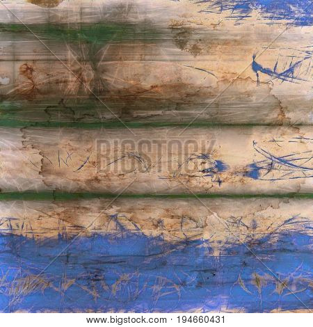 Abstract vintage background with grunge effects, ragged elements, and different color patterns: yellow (beige); green; brown; gray; blue
