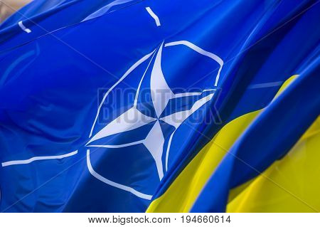 The National Flags Of Ukraine And Nato
