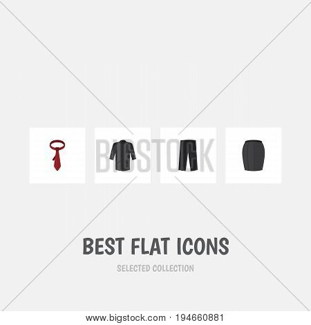 Flat Icon Garment Set Of Uniform, Pants, Cravat And Other Vector Objects. Also Includes Skirt, Necktie, Leggings Elements.