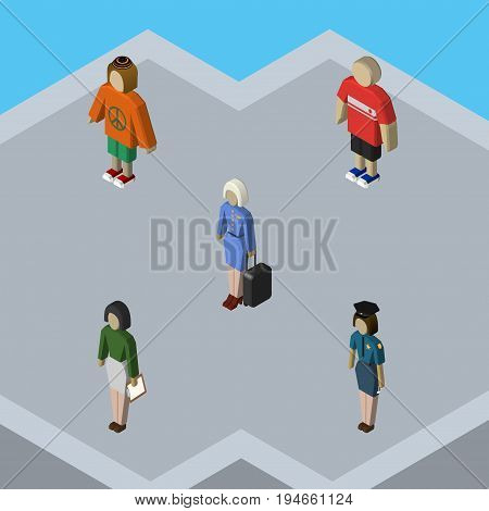 Isometric Human Set Of Pedagogue, Hostess, Policewoman And Other Vector Objects. Also Includes Woman, Hostess, Man Elements.