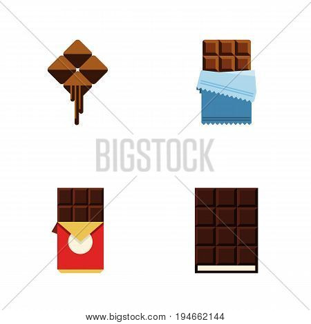 Flat Icon Sweet Set Of Chocolate Bar, Bitter, Dessert And Other Vector Objects. Also Includes Shaped, Delicious, Chocolate Elements.