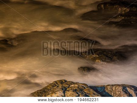 Nightshot Of The Waves And Rocks At The Indian Ocean At The Wild Coast
