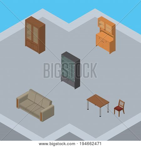 Isometric Furniture Set Of Cupboard, Couch, Sideboard And Other Vector Objects. Also Includes Settee, Couch, Wardrobe Elements.