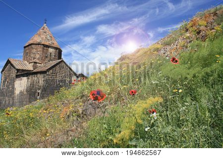 The monastery on the coast of Lake Sevan