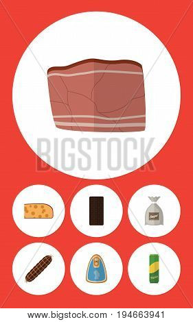 Flat Icon Food Set Of Beef, Spaghetti, Canned Chicken And Other Vector Objects. Also Includes Pasta, Confection, Holland Elements.