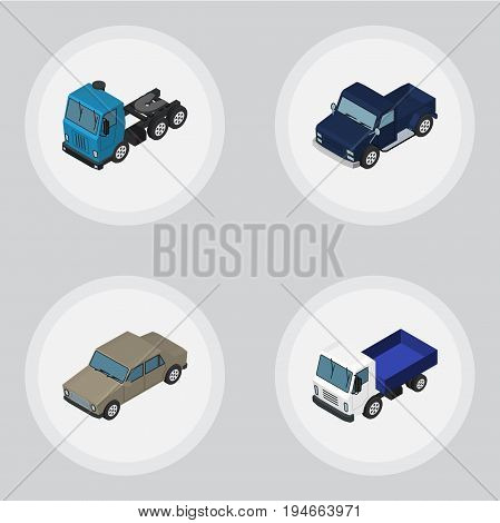Isometric Car Set Of Lorry, Auto, Truck And Other Vector Objects. Also Includes Sedan, Lorry, Transport Elements.