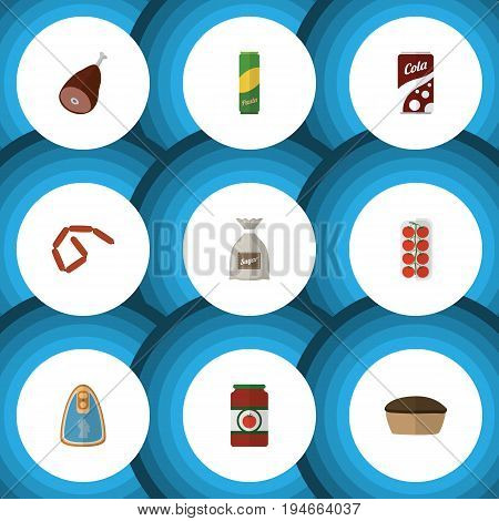Flat Icon Meal Set Of Bratwurst, Sack, Spaghetti And Other Vector Objects. Also Includes Apple, Pie, Macaroni Elements.