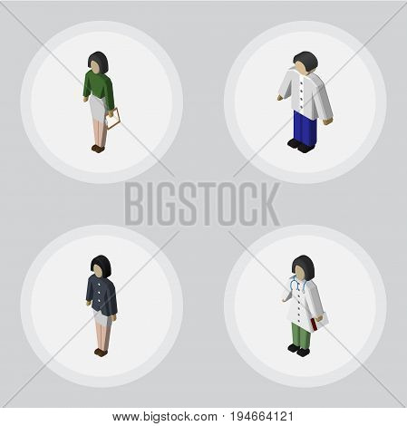 Isometric Human Set Of Girl, Pedagogue, Male And Other Vector Objects. Also Includes Doctor, Nurse, Boy Elements.