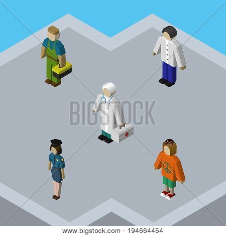 Isometric Human Set Of Lady, Male, Plumber And Other Vector Objects. Also Includes Plumber, Lady, Doctor Elements.