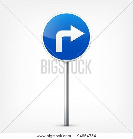 Road blue signs collection isolated on white background. Road traffic control.Lane usage.Stop and yield. Regulatory signs. Curves and turns.