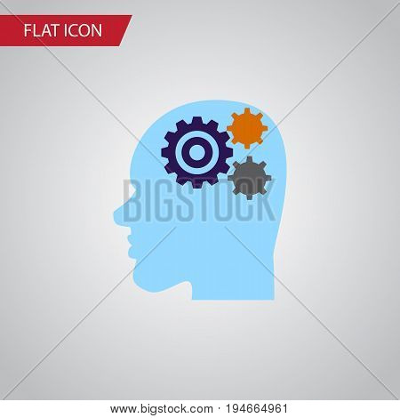 Isolated Thinking Flat Icon. Invention Vector Element Can Be Used For Thinking, Gear, Human Design Concept.