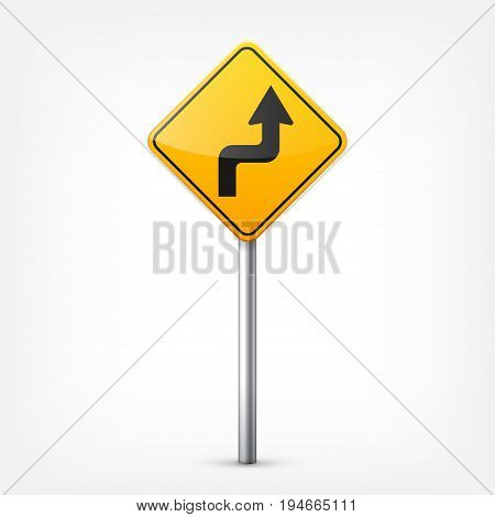 Road yellow signs collection isolated on white background. Road traffic control.Lane usage.Stop and yield. Regulatory signs. Curves and turns.
