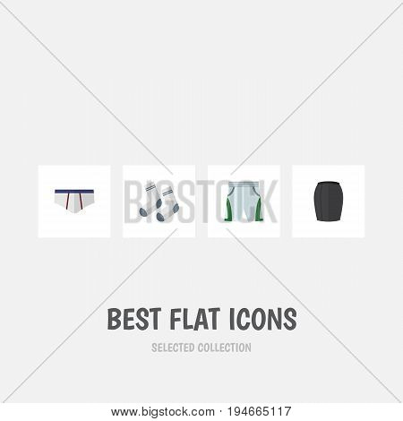 Flat Icon Dress Set Of Underclothes, Foot Textile, Stylish Apparel And Other Vector Objects. Also Includes Underclothes, Apparel, Cloth Elements.