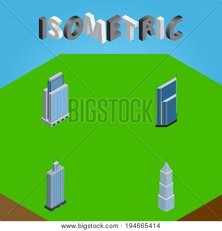 Isometric Skyscraper Set Of Residential, Business Center, Urban And Other Vector Objects. Also Includes Center, Residential, Exterior Elements.