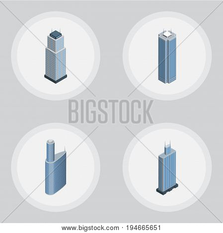Isometric Skyscraper Set Of Building, Skyscraper, Tower And Other Vector Objects. Also Includes Exterior, Center, Skyscraper Elements.