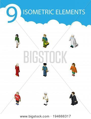 Isometric People Set Of Officer, Pedagogue, Guy And Other Vector Objects. Also Includes Teacher, Investor, Girl Elements.