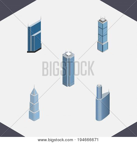 Isometric Construction Set Of Building, Skyscraper, Apartment And Other Vector Objects. Also Includes Skyscraper, Cityscape, Business Elements.