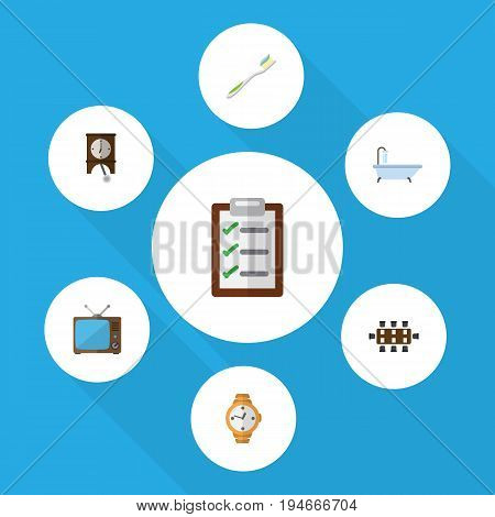 Flat Icon Oneday Set Of Boardroom, Questionnaire, Dental And Other Vector Objects. Also Includes Checklist, Toothbrush, Pendulum Elements.
