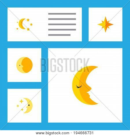 Flat Icon Bedtime Set Of Moon, Nighttime, Bedtime And Other Vector Objects. Also Includes Twilight, Star, Moon Elements.