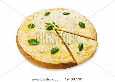 Delicious Quaddro formaggi, four cheese pizza isolated on white background, with parmesan, cheddar, mozzarella and blue cheese decorated with basil leaves