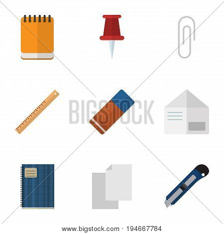 Flat Icon Equipment Set Of Letter, Copybook, Notepaper And Other Vector Objects. Also Includes Blank, File, Notebook Elements.