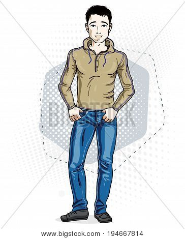 Confident handsome brunet young man standing. Vector illustration of male wearing casual clothes jeans pants and pullover.