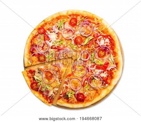 Pizza top view isolated on white background, with onions, bacon and cherry tomatoes, thin pastry crust, closeup