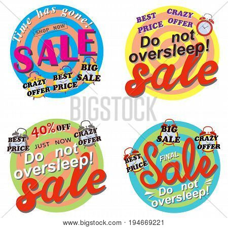 Vector sale set with clock on white background, colored stickers or posters. 50 off. Final Best price.