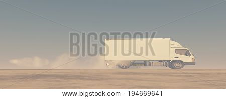 White smoke from the exhaust pipe of a truck. This is a 3d render illustration