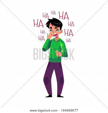 Young man laughing out loud, crying from laughter holding mouth, cartoon vector illustration isolated on white background. Full length portrait of young man bursting with laughter
