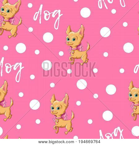 Seamless pattern kid s cute dog. Vector illustration.