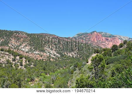 Kolob Canyons in Zion National Park, in the northwest corner of the park, narrow parallel box canyons are cut into the western edge of the Colorado Plateau.