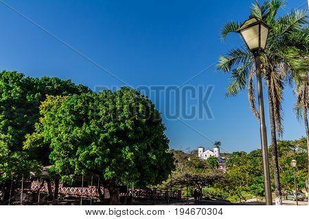 Church in Street of Pirenopolis City Goias Brazil