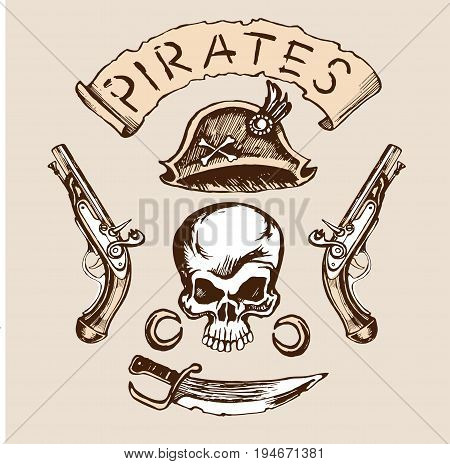 Skull hat knife muskets set color vector sketch with space for text.