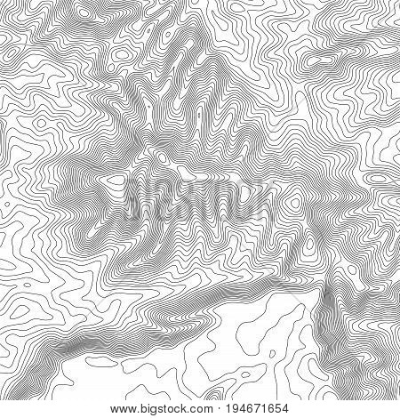 Topographic map background with space for copy . Line topography map contour background , geographic grid abstract vector illustration . Mountain hiking trail .