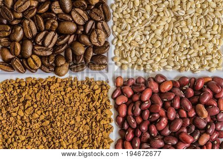 Set of groceries: roasted coffee beans pearl barley freeze-dried instant coffee dried seeds of red beans.